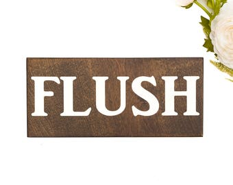 Flush Sign, Modern Bathroom Decor, Painted Bathroom Sign, Kids Bathroom Decor, Wooden Bathroom Signs, Farmhouse Bathroom Decor, Wall Decor