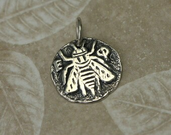 Tiny Sterling Silver Bee Charm – Honey Bee Jewelry – Sterling Silver Coin Charm – Greek Coin Replica Charm – Bee Coin Charm Honey Bee Charm