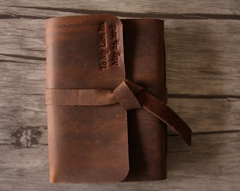 Rustic leather journal custom men's personalized sketchbook diary journal covers, distressed leather bound guestbook