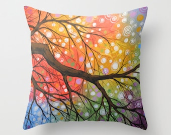 """Decorative throw pillows cover ... from my original abstract landscape painting, """"Bursting Sky"""" ... 16"""" x 16"""""""