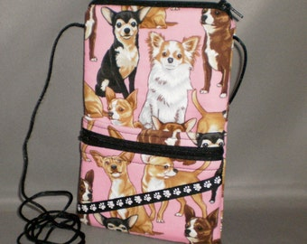 Chihuahua Smart Phone Purse - Passport Purse - Sling Bag - Hipster - Wallet on a String - Dog