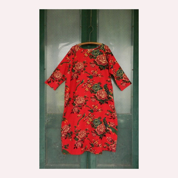 Mordenmiss Modern Miss Long Sleeve Pullover Dress -L- Bold Red Floral Cotton NWT