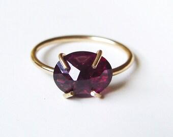 Red Garnet Gold Ring Rose Cut
