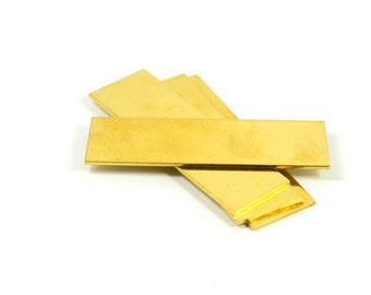 "5 Pcs. Raw Brass Blanks 3/4""x2"" -18 Gauge (1 mmThick ) Stamping Blanks (20x50 mm )"