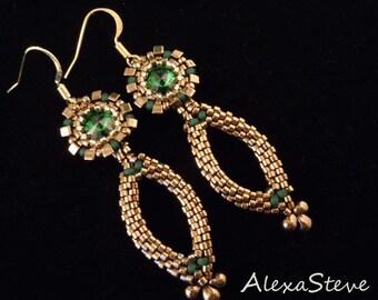 Emerald Green Earrings, Bridal Earrings, Bronze Earrings, Long Earrings, Pageant Earrings