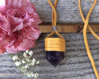 Spiritual Guidance Crystal Point Leather Wrap