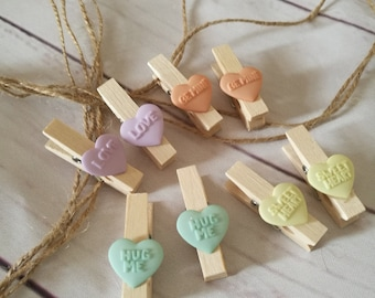 Photo pegs - picture pegs with string ~ love hearts display ~ teenager ~ kids bedroom ~ playroom ~ art area