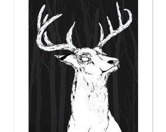 Portrait of a Buck, Deer, Pen and Ink Illustration, Black and White, Art Print 12x16