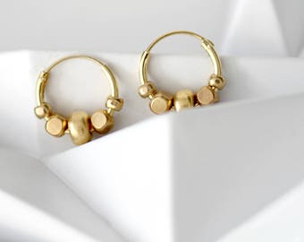 Tiny gold hoop earrings, Small gold hoops, gold filled hoop earrings, beaded hoop earrings, small hoop earrings, easter jewelry