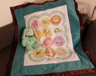 Hand Embroidered Baby Blanket Crib Size Perfect Gift!