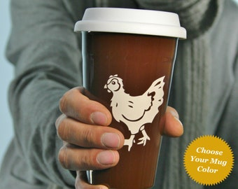 Chicken Travel Mug - hen lidded coffee cup