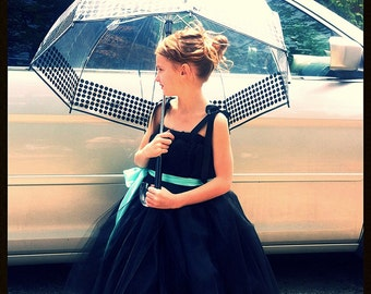The Holly -  SEWN Black tulle dress with sash - Breakfast at Tiffany's inspired tutu dress - Made to order - Photography prop, flower girls