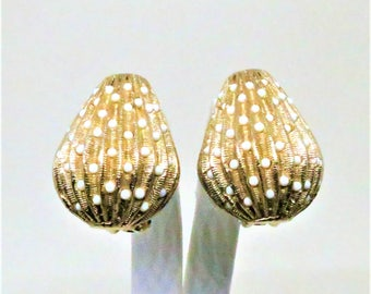 White Earrings - Vintage, Bergere Signed, Gold Tone, White Beading, Clip on