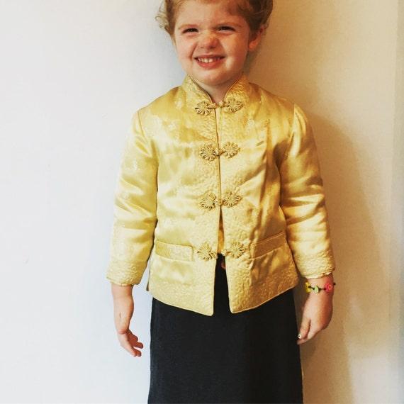 Vintage Little Elephant Mid-Century Yellow Asian Jacket US Childrens Size 3-4 - Vintage Children's Clothing