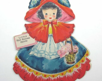 Little Red Riding Hood Vintage 1940s Greeting Card Land of Make Believe No. 5 Doll Card by Hallmark