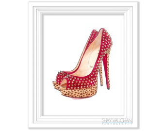 Red With Gold Studs High Heels Shoe Art Print Watercolor Fashion Shoes Home Decor Wall Decor Illustration Wall Art Shoe Lover Gift (No.293)
