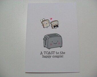 Engagement/Wedding Card - Wedding Shower Card - Toaster Pun Card - BLANK Inside