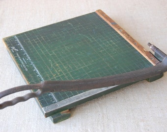 Vintage Industrial Paper Cutter, Green Graph Board, Wood Board, Iron Handle Cutter Blade Circa 1940's.