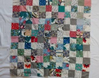 Retro Vintage Atomic Handmade Unfinished Quilt Top, Patchwork, Mid-Century, Floral