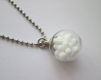Stainless steel ball chain with pendant glass ball white