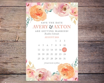Save the date, Postcard, Printable, Wedding invitation, Digital download, Printable, Floral save the date, Floral invitation – Avery
