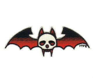 """Bat skull Iron On Patch by Illicit 3 1/4"""" x 1 1/4"""" Free Shipping 8702"""