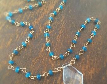 Blue Apatite Necklace - Gold Jewellery - Crystal Quartz Pendant - Wire Wrapped Jewelry - Gemstone