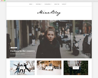 Mina - A Responsive WordPress Blog Theme - Feminine Wordpress Theme - Blog Template - Fashion Template - Wordpress Blog Theme