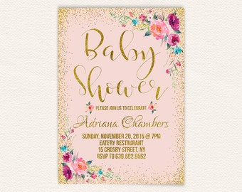 Confetti girls floral baby shower invite, blush pink and gold baby shower invitation, printable pink baby shower invitation, 5x7 jpg 9a