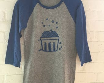 Blueberry Shirt, Raglan Shirt, Graphic Tee, Screen Printed T Shirt