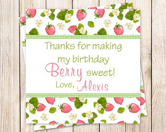PRINTABLE personalized strawberry favor tags . birthday party favor tags . strawberries stickers . thank you tags . gift tags . YOU PRINT