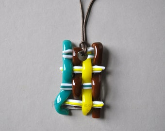 Woven Fused Art Glass Pendant Necklace | One of a Kind Wearable Art | Neon Yellow,Teal, Brown, White