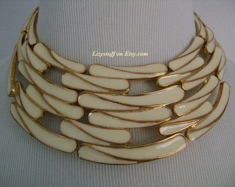 Fascinating GIVENCHY Haute Couture RARE Retro Gold Tone and White/Ivory Enameled Modernist Design Runway Statement Bib Necklace Hard to Find
