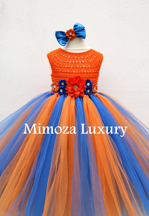 Florida Gator girl dress, orange blue gator tutu dress, university of florida dress, princess dress, orange tulle dress, UF tutu dress