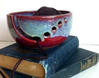 Burgundy Rustic Modern Ceramic Wheel Thrown Yarn Bowl - MADE TO ORDER