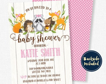 Woodland Baby Shower Invitation, Baby Shower Invitation, Forest Friends Shower Invitation, It's A Girl Invitation, Pink