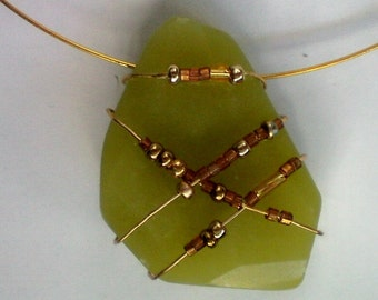 Beaded Wire Wrapped Green Crystal Pendant / Necklace - 3996
