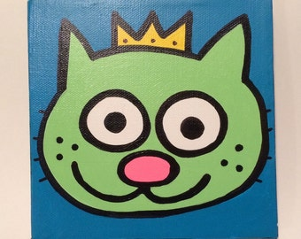 Kitty King 6x6 Minipop Originial Painting