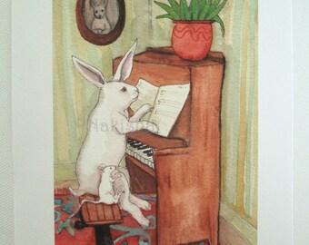 Archival Fine Art Animal Print - The Piano Lesson - Nursery or Children's room Art