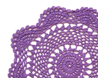 Purple hand dyed Crochet Vintage Doily