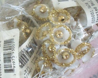 One Gross / Sale / Vintage / Gold Frosted Plastic Bells / Twelve Bunches / Corsage Fillers / Package Tie-Ons / Golden Wedding Anniversary