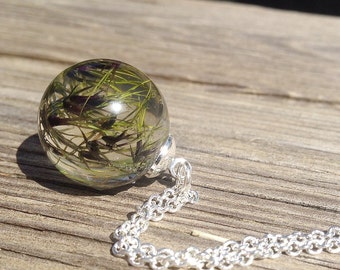 Terrarium necklace resin jewelry, nature necklace, spike necklace Clear Orb Necklace, Nature lovers gift, autumn necklace, fall jewelry