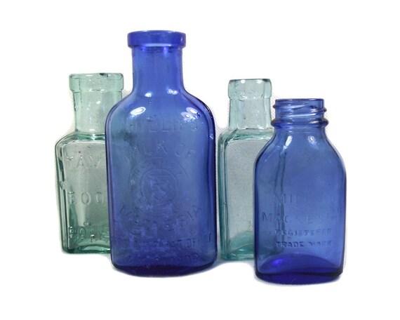 Vintage Coloured Glass Bottles Set