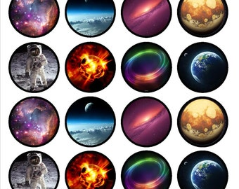 Space Edible Wafer Rice Paper Cake Cupcake Toppers x 24 PRECUT