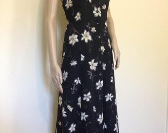 Beautiful Black Floral Midi Dress Vintage 90s
