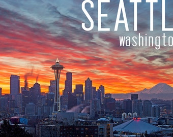 Seattle, Washington - Rainier and Sunrise (Art Prints available in multiple sizes)