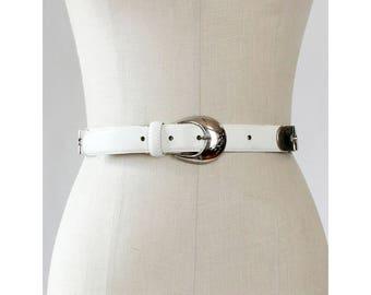 80s Leather Belt • White Leather Belt • 80s Belt • Vintage Leather Belt • Silver Buckle Belt • Vintage Belt • Punk Belt   BT398