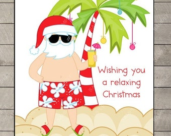 Personalized for you Tropical Christmas Cards Santa at the Beach 2 Set of 10 Notecards