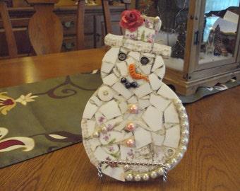 Whimsical Pique Assiette Mosaic Snowman