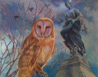 Owl and Stone Goddess -- original art